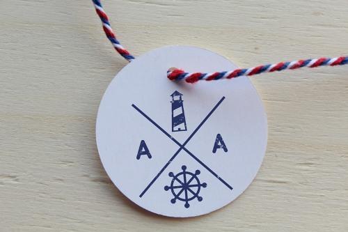 sello personalizado de boda nautico