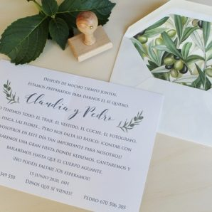 invitación de boda olivo con sobre forrado a juego