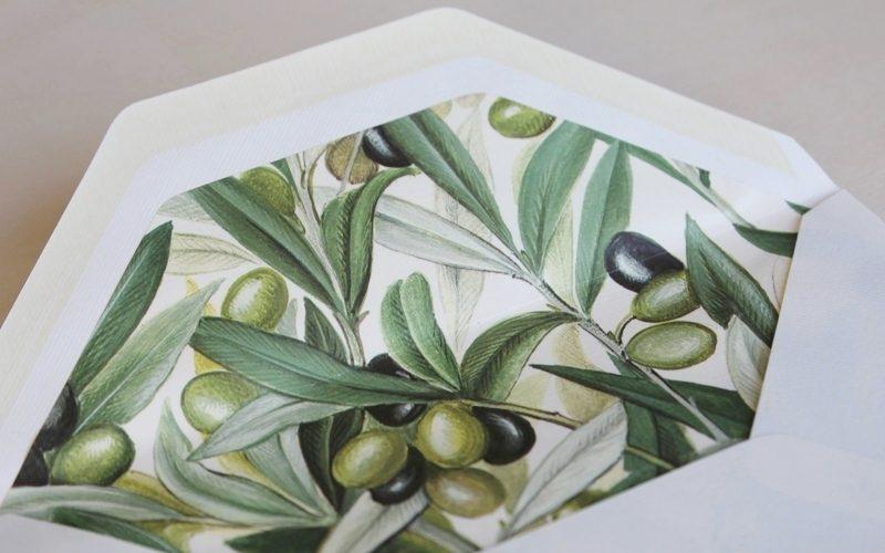 sobres forrados elegantes olivos